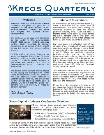 Kreos Quarterly Newsletter Q2 2015