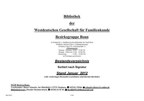 Bibliothek Der Westdeutschen Gesellschaft Fa R Bonn Wgff