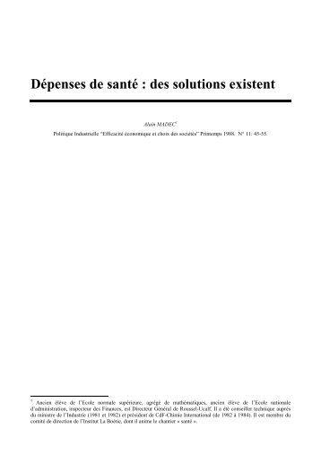 Dépenses de santé : des solutions existent - REES France