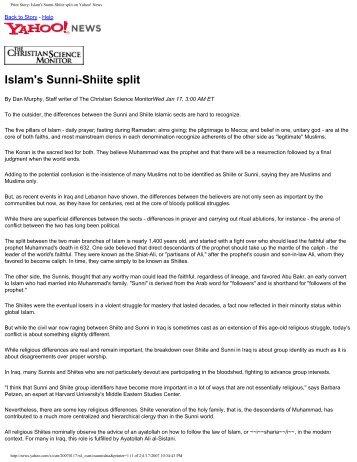 Print Story: Islam's Sunni-Shiite split on Yahoo! News