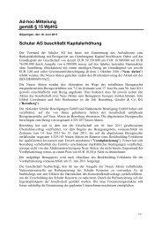 Ad-hoc-Mitteilung gemäß § 15 WpHG Schuler AG ... - +++ bwsc