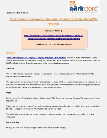 Aarkstore - The Commerce Insurance Company : Company Profile and SWOT Analysis
