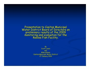 Presentation to Casitas Municipal Water District Board of Directors ...