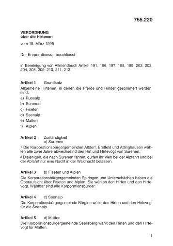 1 VERORDNUNG über die Hirtenen vom 15. März 1995 in ...
