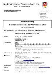 Ausschreibung Bezirksmeisterschaften 2012