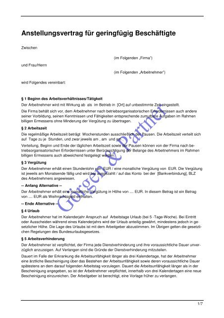 Anstellungsvertrag Fã¼r Geringfã¼gig Beschãftigte