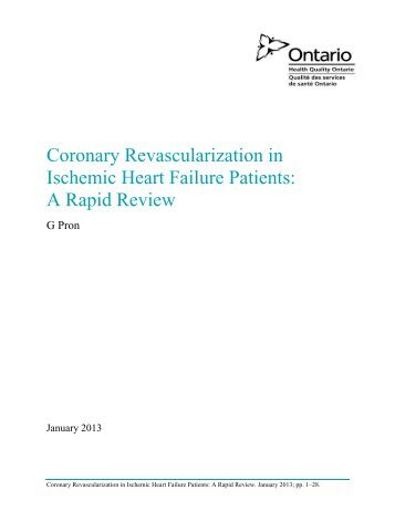 Coronary Revascularization in Ischemic Heart Failure Patients: A ...