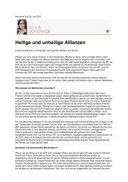 Newsletter vom 30. Juni 2013 - Silvia Schenker