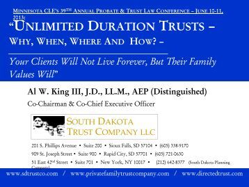 Unlimited Duration Trusts - Minnesota CLE