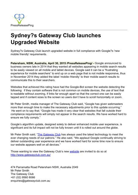 Sydney?s Gateway Club launches Upgraded Website