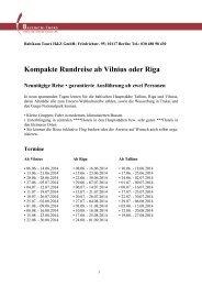 Kompakte Rundreise ab Vilnius - Baltikum Tours