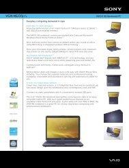 Sony VGN-NS235J - Marketing Specifications (Nightfall Blue)
