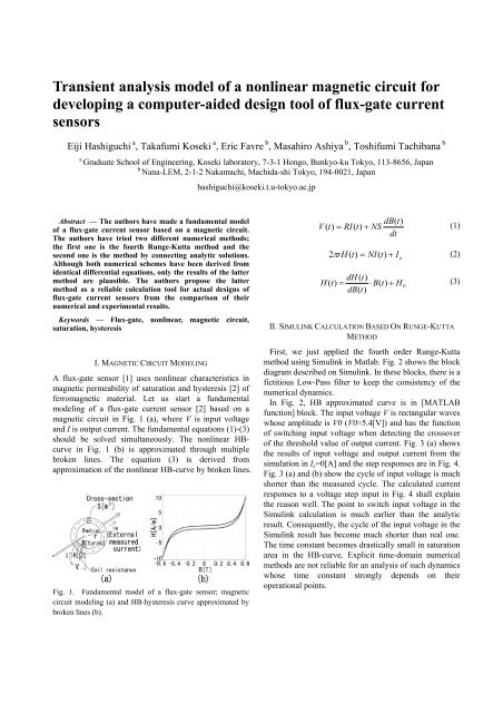 Transient analysis model of a nonlinear magnetic circuit for