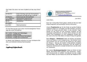 Elternbrief Juni 2012 - Grundschule Kredenbach