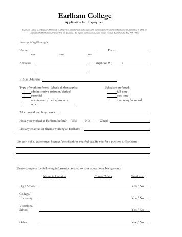 Application Form for Hourly Staff Positions - Earlham College