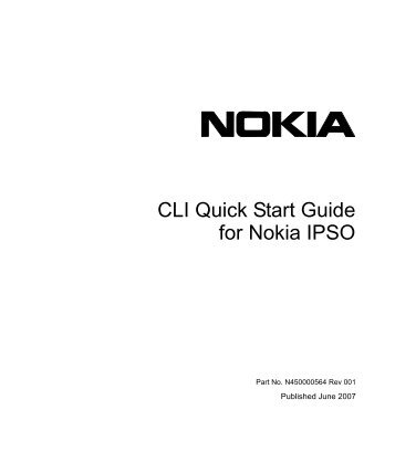 CLI Quick Start Guide for Nokia IPSO - Check Point