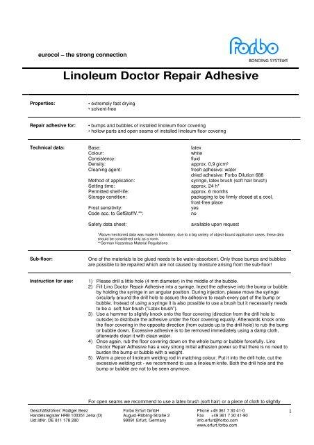 Linoleum Doctor Repair Adhesive Forbo Chemie