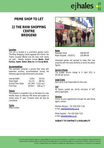 prime shop to let 22 the rhiw shopping centre bridgend - EJ Hales