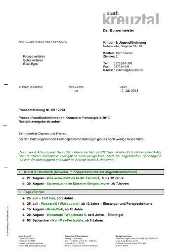Der Bürgermeister - Grundschule Kredenbach