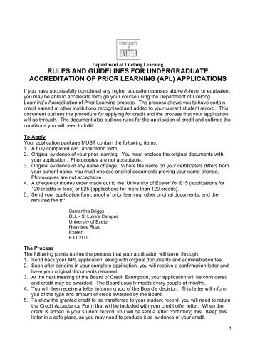 (apl) applications - University of Exeter