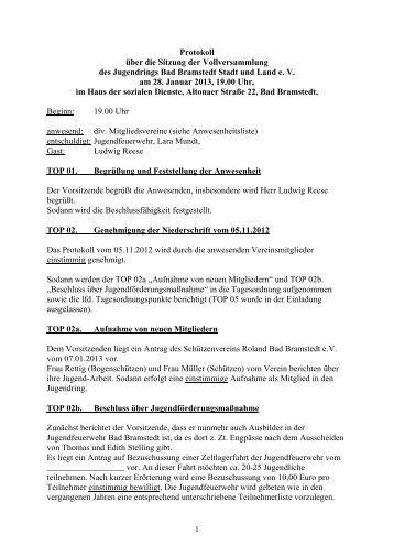 Sitzung vom 28.01.2013 - Jugendring Bad Bramstedt