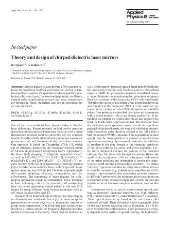 Invited paper Theory and design of chirped dielectric laser mirrors