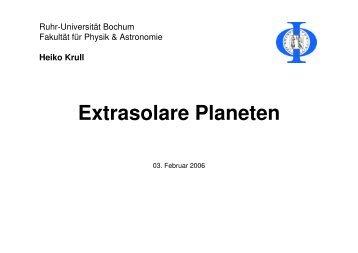 Extrasolare Planeten - Ruhr-Universität Bochum