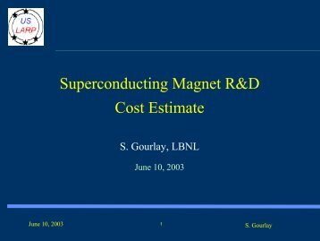 Superconducting Magnet R&D Cost Estimate - Fermilab Technical ...