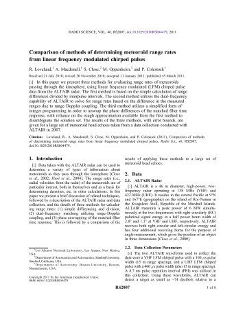 Comparison of methods of determining meteoroid range rates from ...