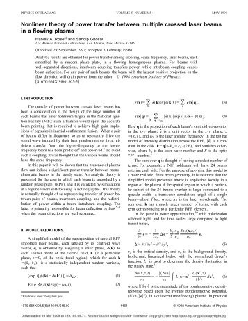 Nonlinear theory of power transfer between multiple crossed laser ...