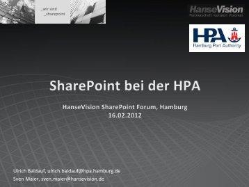 SharePoint als Unternehmensportal bei der Hamburg Port Authority ...