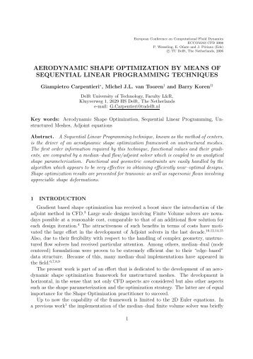 aerodynamic shape optimization by means of sequential linear - Fyper