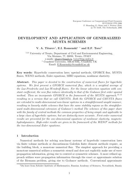 development and application of generalized musta schemes - Fyper