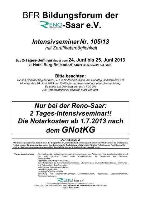 the latest 15d86 286ff einladung bollendorf 105-13 GNotKG 2 - Reno-Seminar-Online-Shop
