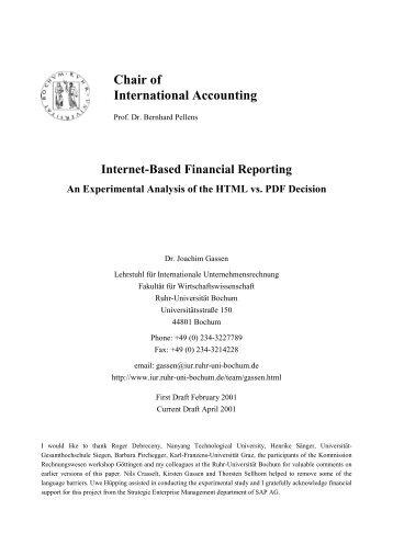 Internet-Based Financial Reporting - des Lehrstuhls - Ruhr ...