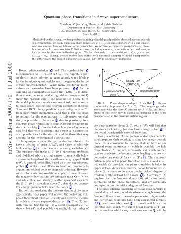 Quantum phase transitions in d-wave superconductors - Harvard ...