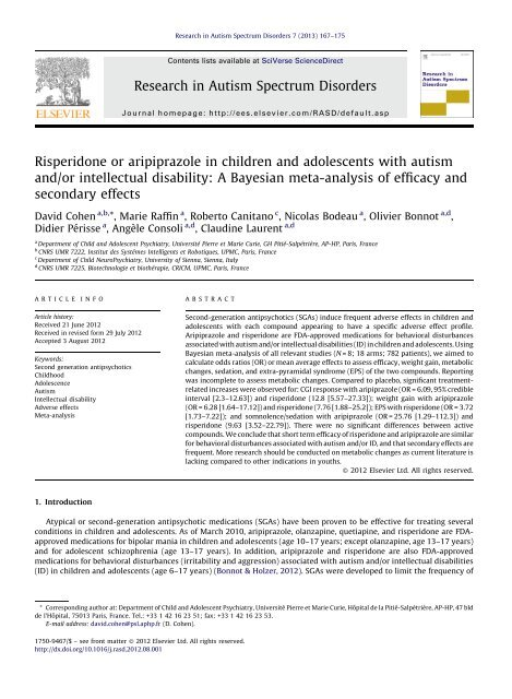 Risperidone Use In Children With Autism >> Risperidone Or Aripiprazole In Children And Adolescents With Autism