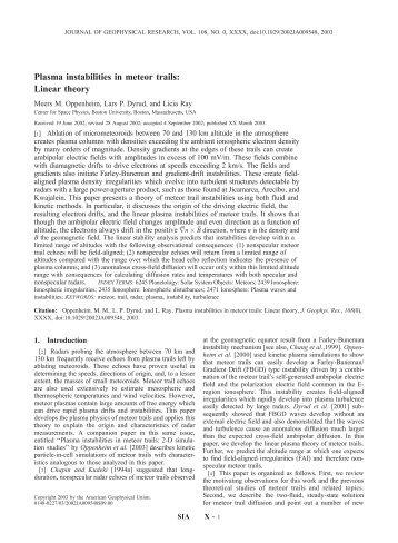 Plasma instabilities in meteor trails: Linear theory - Boston University