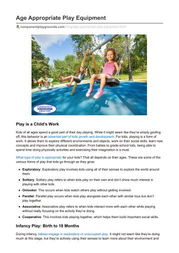 Age Appropriate Play Equipment- Component Playgrounds
