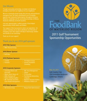 2011 Golf Tournament Sponsorship Opportunities - Food Bank of ...