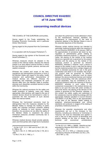 Medical Devices Directive 93/42/EEC - Spin GmbH