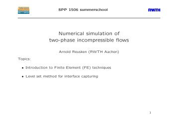 Introduction to Finite Element methods - DFG (SPP 1506)