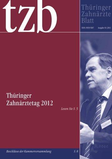 Thüringer Zahnärzteblatt 01/2013 - Zahnärzte in Thüringen