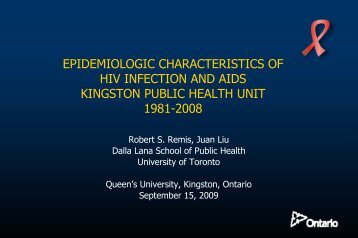 Epidemiologic characteristics of HIV infection and AIDS Kingston ...