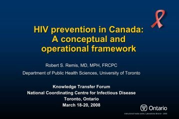 HIV prevention in Canada: A conceptual and operational framework