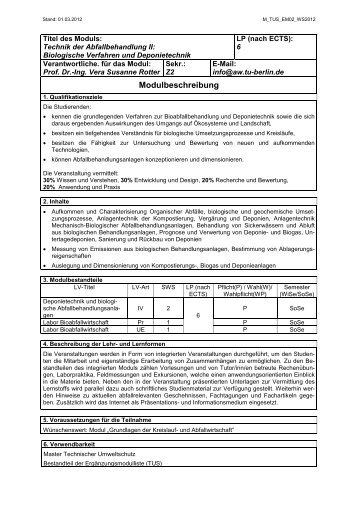 Modulbeschreibung (PDF, 29,0 KB) - TU Berlin