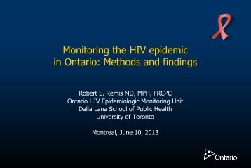 Monitoring the HIV epidemic in Ontario: Methods and findings