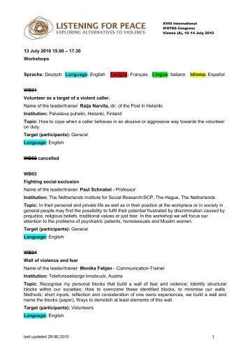 13 July 2010 15.00 – 17.30 Workshops Sprache: Deutsch Language ...