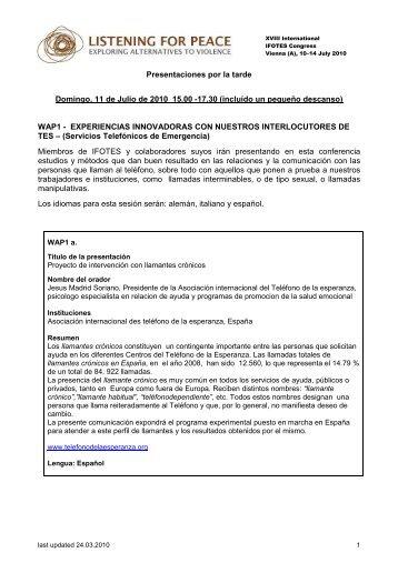 Presentaciones por la tarde Domingo, 11 de Julio de 2010 15.00 ...