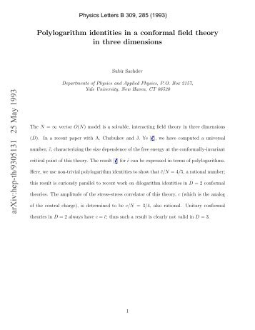 Polylogarithm identities in a conformal field theory in three dimensions
